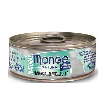 Monge (Монже) Консервы для кошек с кусочками морепродуктов и курицей