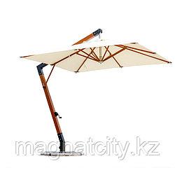 Зонт Wood Lux, 3х3м, квадратный, бежевый (с 4-мя утяжелителями)