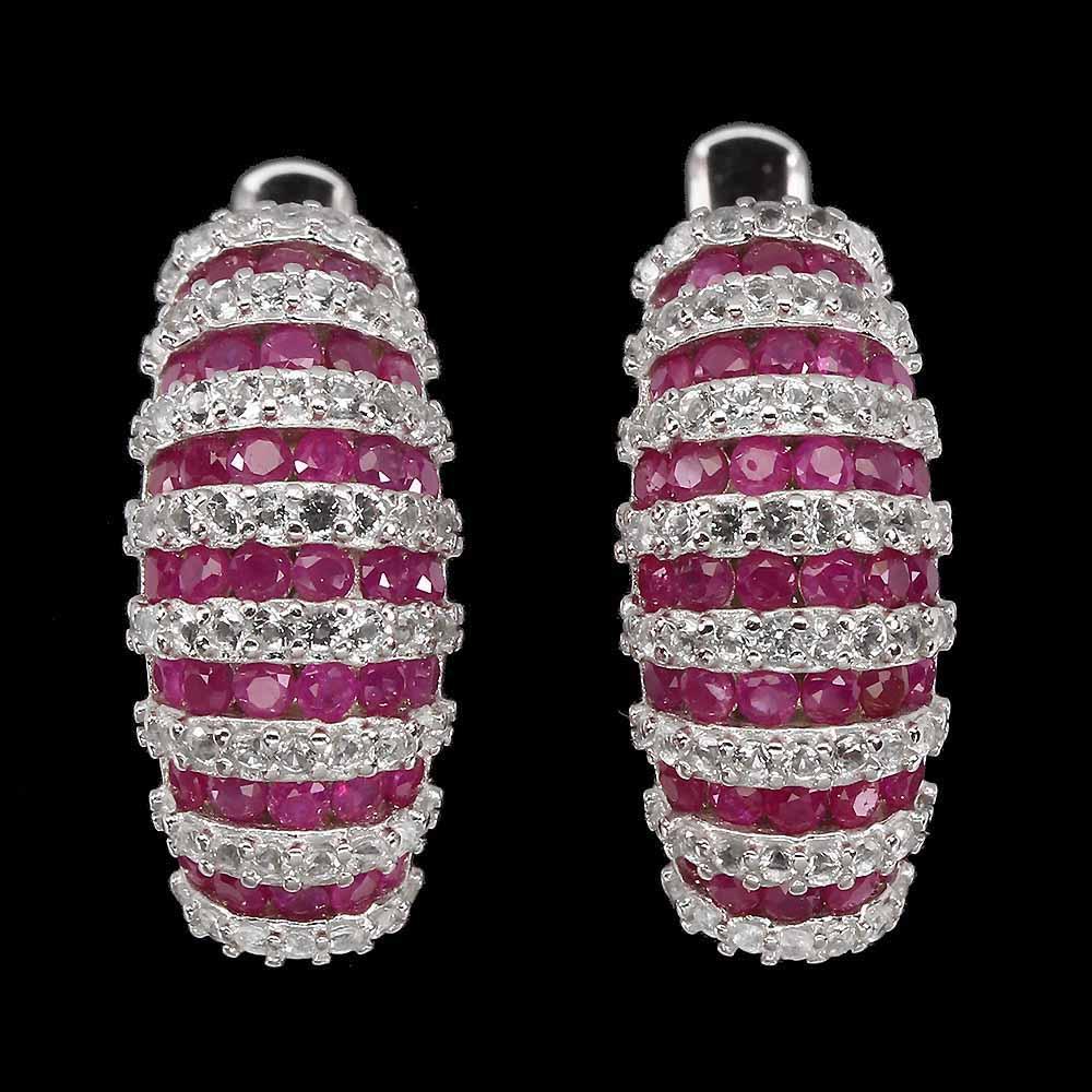Серьги с Рубинами и Топазами бриллиантовой огранки