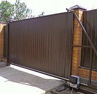 Откатные ворота с профлистом