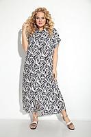 Женское летнее из вискозы бежевое большого размера платье Michel chic 993 бежево-синий 58р.