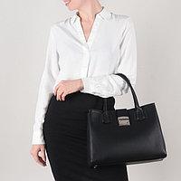 Сумка женская, отдел на молнии, наружный карман, длинный ремень, цвет чёрный