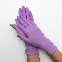 Перчатки нитриловые неопудренные, размер М, UNEX, упаковка 50 пар, сиреневые