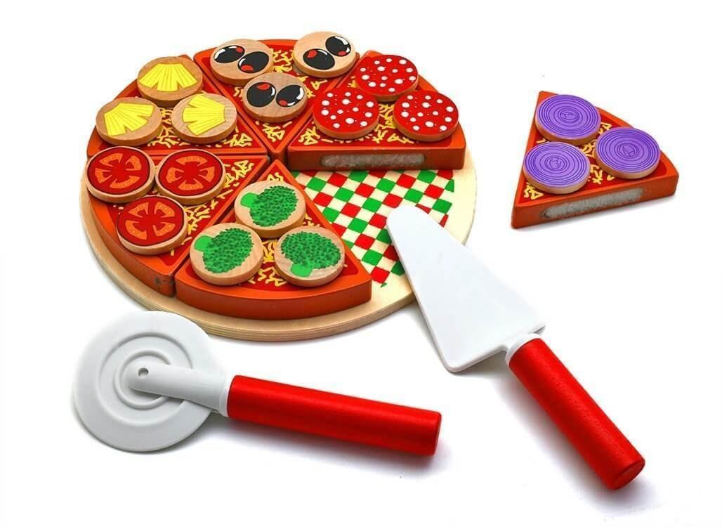 Деревянная пицца на липучках