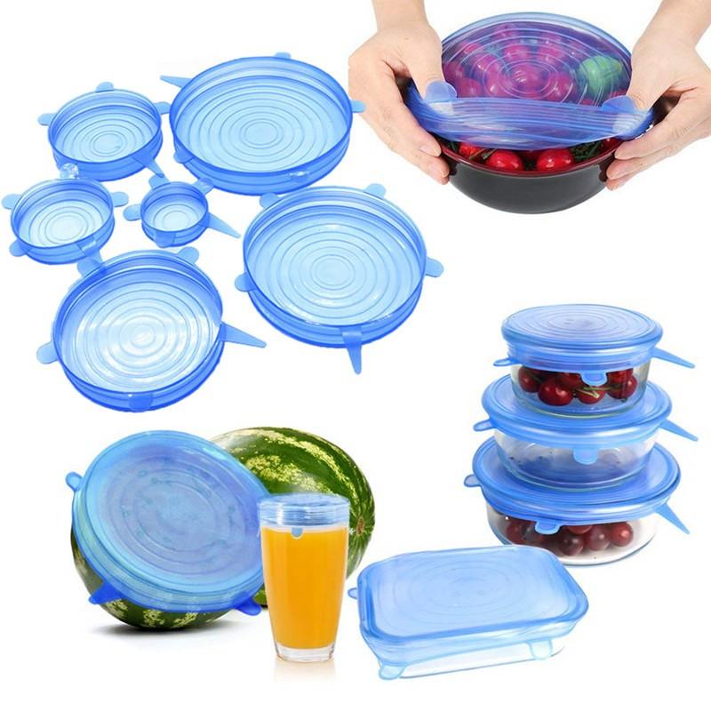 Многоразовые силиконовые крышки Super Stretch SILICONE Lids для посуды 6 штук универсальные