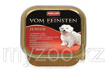 Консервы Vom Feinsten JUNIOR с говядиной и мясом домашней птицы д/щенков и юниоров, 150 гр
