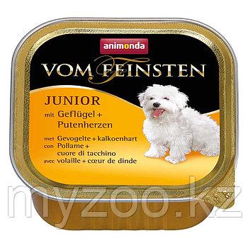 Консервы Vom Feinsten JUNIOR с мясом домашней птицы и сердцем индейки д/щенков и юниор, 150 гр