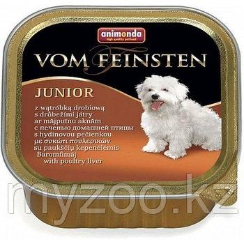 Консервы Vom Feinsten JUNIOR с печенью домашней птицы д/щенков и юниоров, 150 гр