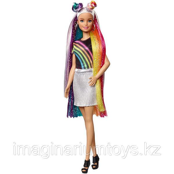 Кукла Барби блестящие радужные волосы - фото 1