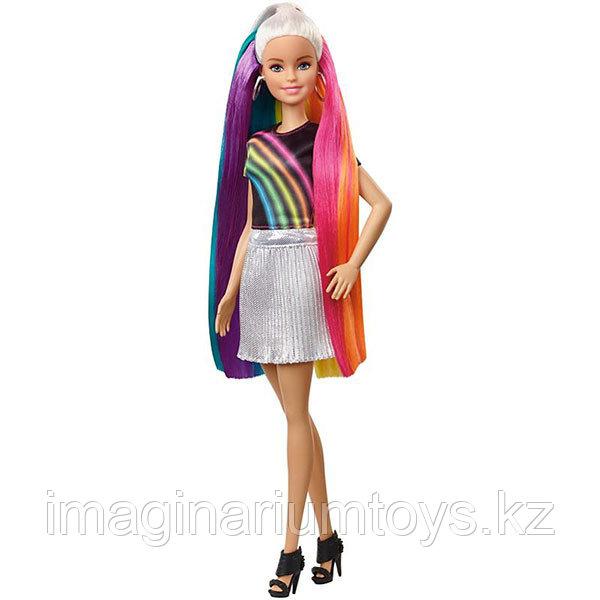 Кукла Барби блестящие радужные волосы - фото 3