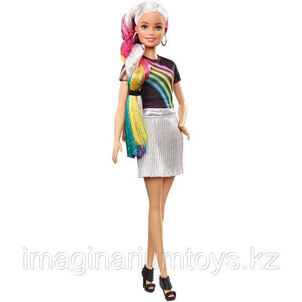 Кукла Барби блестящие радужные волосы - фото 5