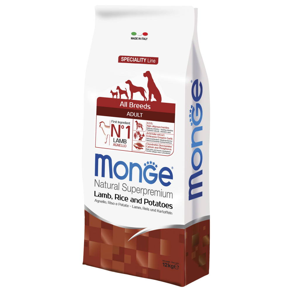 Monge Сухой корм для собак всех пород, Ягнёнок и рис