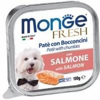 Monge Fresh Pate with Chunkies Salmone, влажный корм для собак с лососем, 100 гр.