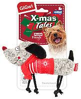 "GIGWI Игрушка для собак ""X-mas Tales"" Собачка с пищалкой 18 см АРТ 75466"