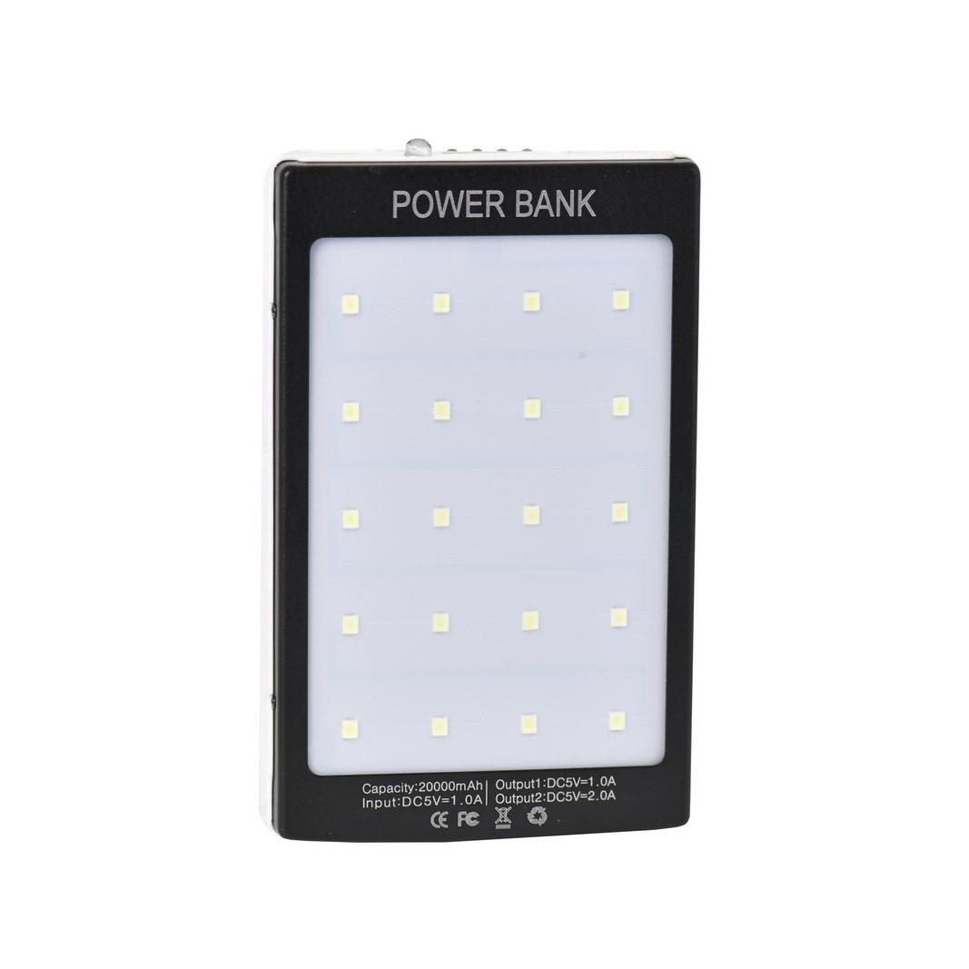 Power bank Solar battery 20000 mAh 2XUSB Black/White