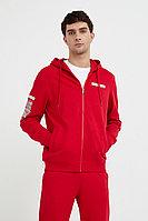Толстовка мужская с принтом на рукаве из хлопка Finn Flare, цвет красный, размер 3XL