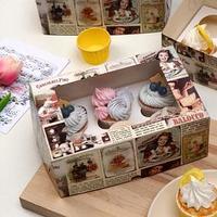 Упаковка для капкейков с окном на 6 капкейков 'Ретро', 25 х 17 х 10 см (комплект из 5 шт.)