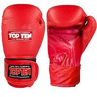 Боксерские перчатки кожаные 12-OZ Top ten красные с надписью