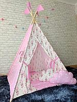 Детская палатка вигвам 4х гранный Енотики