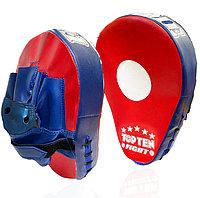 Лапа-перчатка для бокса вогнутая Top ten красная с синей перчаткой