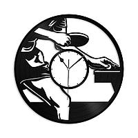 Настенные часы из пластинки Настольный теннис, подарок тренеру, фанату, любителю, 1384