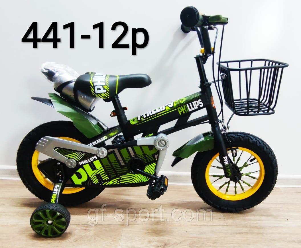 Велосипед Phillips хаки(военный) алюминиевый сплав оригинал детский с холостым ходом 12 размер