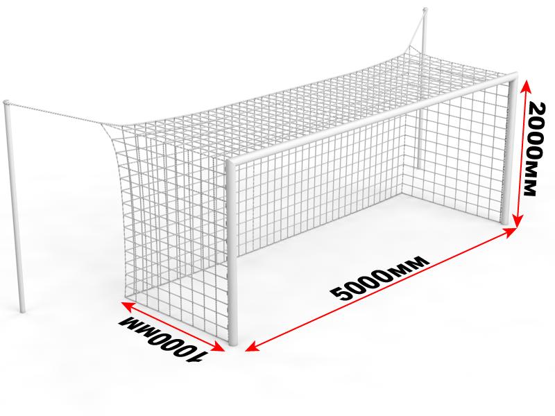 Ворота футбольные стационарные со стойками натяжения (5х2 м)