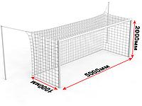 Ворота футбольные стационарные со стойками натяжения (5х2 м), фото 1