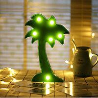 Светильник Пальма ночник зеленая пальма 15 x 10 см 5 ламп (на батарейках)