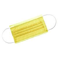 Маска 3-х слойная желтая на резинках 50 шт/уп