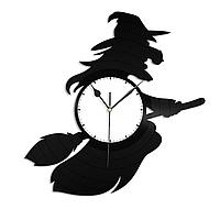 Настенные часы из пластинки Ведьма на метле, Баба Яга, 1406