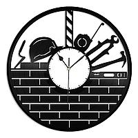 Настенные часы из пластинки Строитель, подарок строителю, магазин стройматериалов, 1408