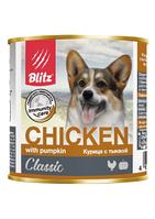 Влажный корм для собак всех пород и возрастов Blitz Chicken&Pumpkin с курицей и тыквой