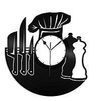Настенные часы из пластинки Шеф-повар, подарок повару, на кухню, 1417
