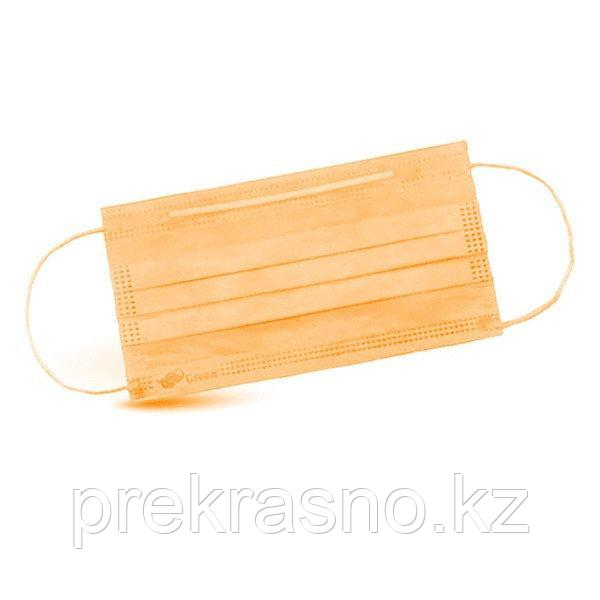 Маска 3-х слойная оранжевая на резинках 50 шт/уп