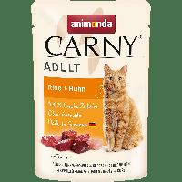 Паучи CARNY ADULT с говядиной и курицей для взрослых кошек -85гр.