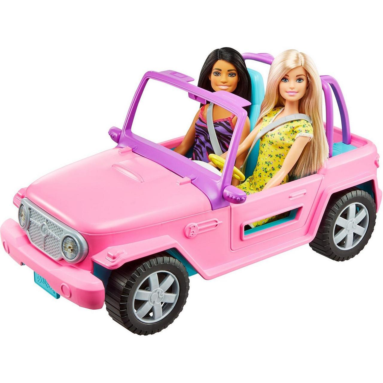 Barbie Игровой набор Кукла Барби с подругой в розовом джипе