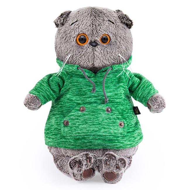 Мягкая игрушка Кот Басик в зеленой толстовке с карманом-кенгуру, 19 см