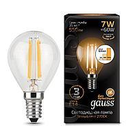 Лампа светодиодная филаментная диммируемая Gauss E14 7W 2700K прозрачная 105801107-S