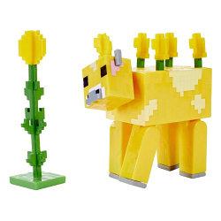 Minecraft Фигурка Майнкрафт Лютиковая корова с аксессуарами, 7 см