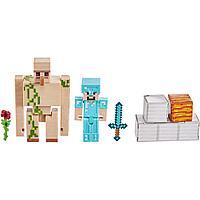Minecraft Набор Фигурок Майнкрафт Стив и Железный Голем, GTP30