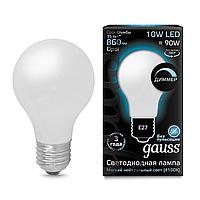 Лампа светодиодная диммируемая Gauss филаментная E27 10W 4100К матовая 102202210-D