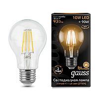 Лампа светодиодная филаментная Gauss E27 10W 2700К прозрачная 102802110