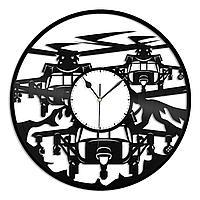 Настенные часы из пластинки Вертолет Геликоптер, подарок пилоту вертолета, фанату, любителю, 1450