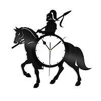 Настенные часы из пластинки Рыцарь Воин Всадник, подарок всаднику, фанатам, любителям, 1463