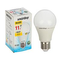 Лампа cветодиодная Smartbuy, A60, E27, 11 Вт, 3000 К, теплый белый свет