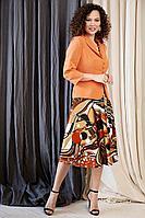 Женский осенний бархатный нарядный комплект с платьем Мода Юрс 2527-1 оранжевый 48р.