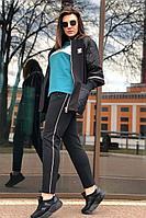 Женский осенний трикотажный спортивный большого размера спортивный костюм Runella 1422 бирюза 46р.
