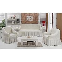 Набор чехлов для дивана и кресел BULSAN 3-х предметный, цвет кремовый
