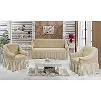 Набор чехлов для дивана и кресел BULSAN 3-х предметный, цвет натурал